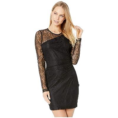 BCBGeneration Shirred Long Sleeve Bodycon Dress (Black) Women
