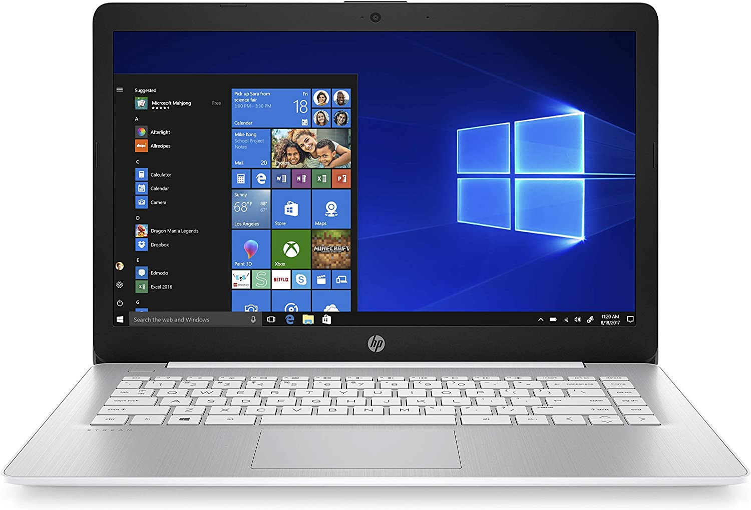 HP Stream 14-inch Laptop, Intel Celeron N4000, 4 GB RAM, 64 GB eMMC, Windows 10 Home in S Mode with Office 365 Personal for 1 Year (14-cb187nr, Diamond White) (Renewed)