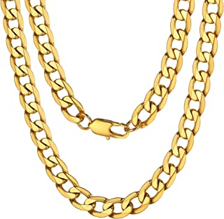 Mens Sturdy Cuban Chain Necklace, 4/5/6/9/12/13/15 MM...