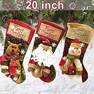 Christmas Stockings, 3 Pack 20 inch Extra Large Santa Snowman Reindeer Xmas Fireplace Hanging Stockings Decoration with 3D Plush Faux Fur Cuff for Christmas Decoration and Family Holiday Party Décor