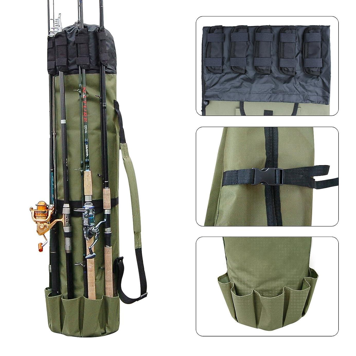 なかなか不公平憎しみ多機能 布製 ロッドスタンド 5本ロッド挿入可 大容量 軽量 防水 釣り竿ケース 手提げ 肩掛け