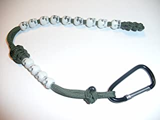 RedVex Ranger Pace Counter Skull Beads OD Green Cord - 13 inches - Choose Your Skull Color and Attachment (White Skulls, Aluminum Carabiner)