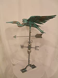 Furniture Barn USA Large Handcrafted 3D 3- Dimensional Heron Weathervane Copper Patina Finish