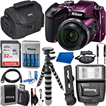 Nikon COOLPIX B500 Digital Camera with Essential Accessory Bundle – Includes: SanDisk Ultra 32GB SDHC Memory Card, Rechargeable Batteries (8-AA) & Dock Charger, Digital Slave Flash & Much More (Plum)