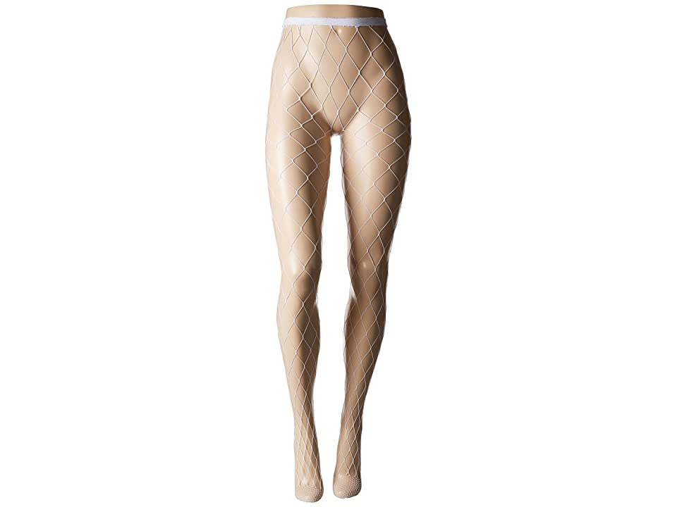 Steve Madden Open Work Fishnet Tights (White) Hose