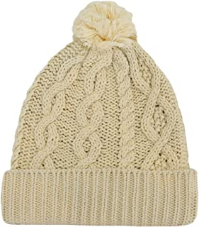 Patrick Francis Aran Knitted Bobble Hat Cream Color