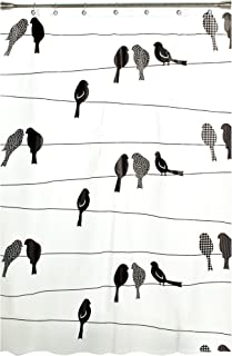 SKL Home by Saturday Knight Ltd. Birds on a Wire Shower Curtain, Black