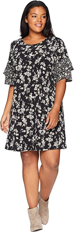 Plus Size Contrast Print Ruffle Sleeve Dress