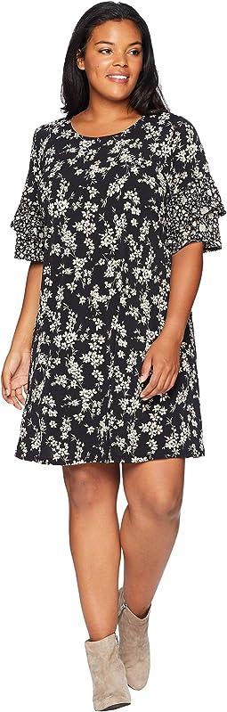 Plus Size Contrast Print Ruffle Sleeve Dress