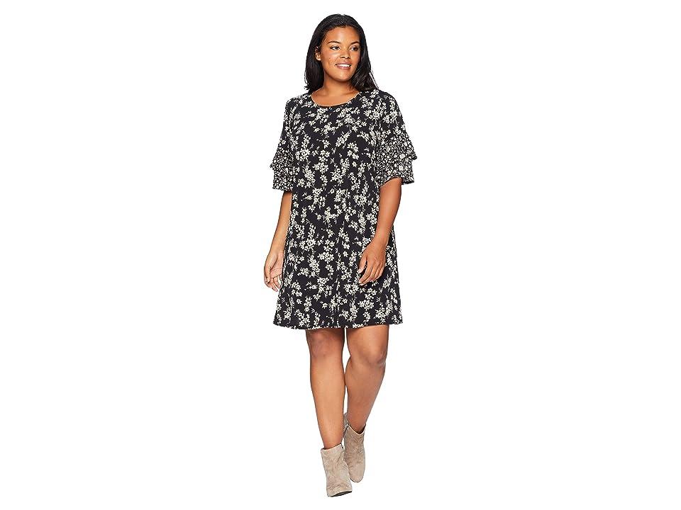 Karen Kane Plus Plus Size Contrast Print Ruffle Sleeve Dress (Floral) Women