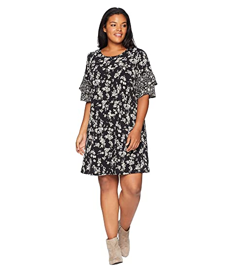 Karen Kane Plus Plus Size Contrast Print Ruffle Sleeve Dress At