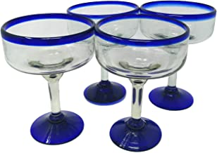 Mexican Hand Blown Glass – Set of 4 Hand Blown Margarita Glasses (16 oz)