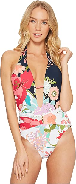 Trina Turk - Royal Botanical V-Plunge One-Piece