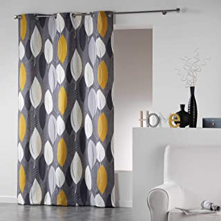Coton d'intérieur 1606474 LEAFY Rideau à œillets Coton Jaune 140 x 240 cm