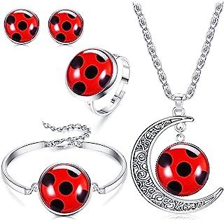 HAIAISO Good Luck Ladybug Jewelry Red Ladybug Bracelet Moon Necklace Ring Stud Set Ladybug Lover Gift Insect Wish Lucky Gi...