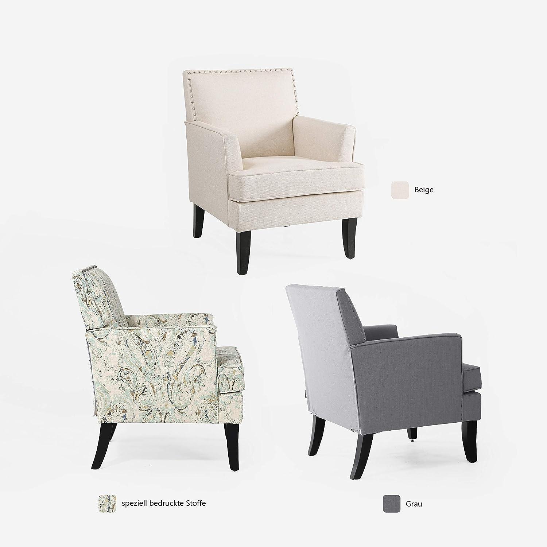 Sessel Wohnzimmer Stuhl Kleiner Sessel Holz Ohrensessel Einfach zu Installierender Samt Sessel mit Silberner Nagel Bequem Armchair fur Schlafzimmer Garten und Wohnzimmer Ohrensessel Beige Relaxsessel