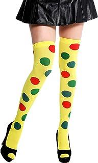 dressmeup - K0817 Medias de Mujer Overknees Halloween Carnaval Payaso Amarillo Lunares Coloridos Polca