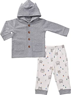 Asher & Olivia Baby Boy Outfits Hoodie Sweatshirt and Cotton Pants Clothes Set