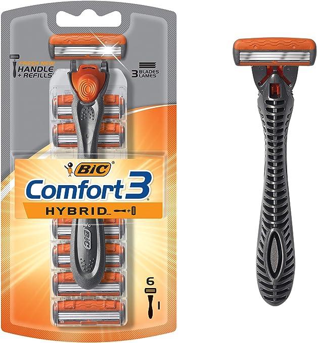 BIC Hybrid 3 Advance Men's Razors Kit - Pack of 1 Handle and 6 Cartridges