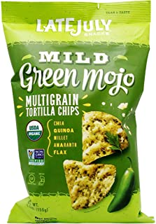 LATE JULY Snacks Multigrain MILD Green Mojo  Tortilla Chips, 5.5 oz. Bag
