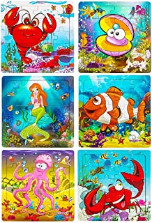 Wooden Puzzles for Kids Ages 2-5, Aitey Toddler Jigsaw Puzzles 20 Pieces Preschool Educational Learning Toys Set Animal Puzzles for 2 3 4 5 Years Old Boys and Girls (6 Puzzles)