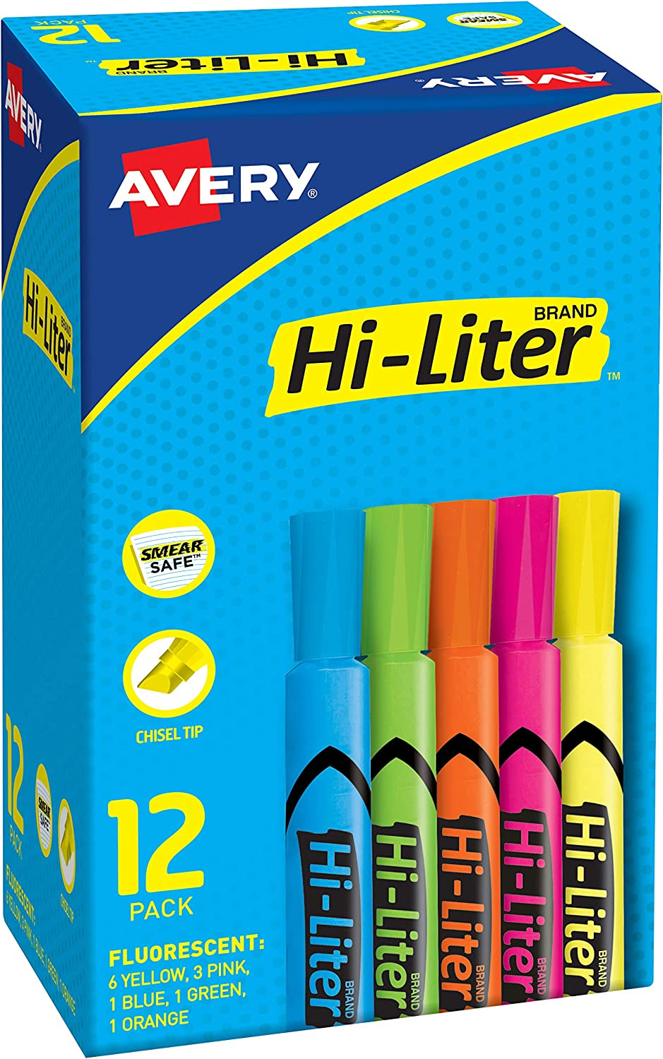 HI-LITER Avery Desk-Style Highlighters Chisel Charlotte Mall specialty shop 12 Tip
