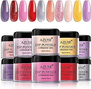Dip Powder Nail Set with Dip Powders Nails System Of 10 colors No UV/LED Nail Lamp Needed for French Nail Manicure Nail Art