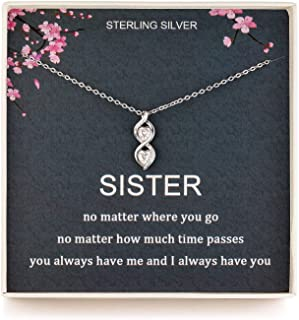 Sister Gifts from Sister, Sterling Silver Infinite Two Interlocking Infinity Double Hearts Necklace, Birthday Jewelry Gift...