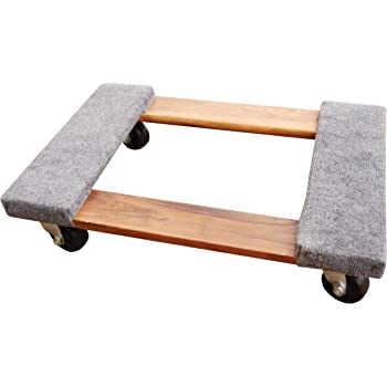 """Vestil HDOC-1624-9 Hardwood Dolly with Carpet End, 900 lbs Capacity, 24"""" Length x 16"""" Width x 5-3/4"""" Height Deck"""
