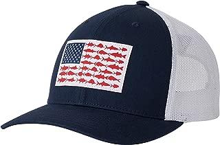 Columbia Men's PFG Mesh Snap Back Ball Cap, Sun Protection, Collegiate Navy, Fish Flag, One Size