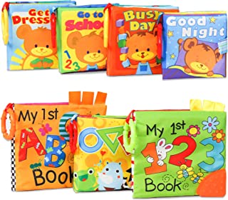 KIDAMI Baby Soft Books (Pack of 7) with Teether and Crinkle Paper, Water Proof Bath Book, First Year Book for Learning Num...