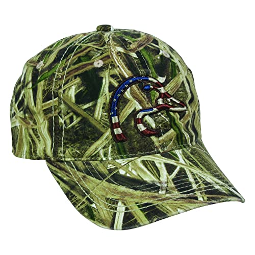 fbaed631123 Ducks Unlimited American Flag Duck Head Flag Mossy Oak Shadow Grass Cap Hat  120