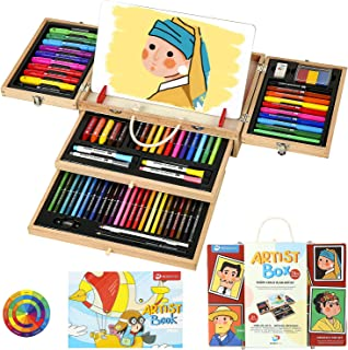 MEEDEN 80-Piece Art Drawing Case, Wooden Art Box with Painting Board, Silky Crayon, Oil Pastels, Dual-Tip Pens, Colored Pe...