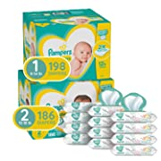 Pampers Baby Diapers and Wipes Starter Kit (2 Month Supply) - Swaddlers Disposable Baby Diapers Sizes 1 (198 Count) & 2, (186 Count) with Pampers Sensitive Water-Based Baby Wipes, 864 Count