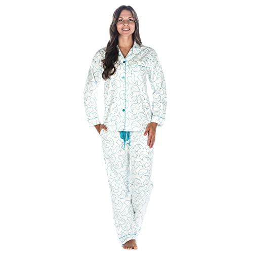 5ea5be60a3 Noble Mount Womens Premium 100% Cotton Flannel Pajama Sleepwear Set