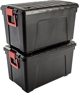 Iris Ohyama SIA-110 Store It All -  Caja de Almacenamiento de Bricolaje Apilable, Plastico, 110L, Negro/Rojo, 75 x 44,5 x 44,5 cm, Lote de 2