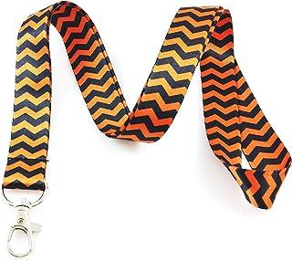 Noir et Orange Chevron Lanyard Porte-clés badge d'identification support