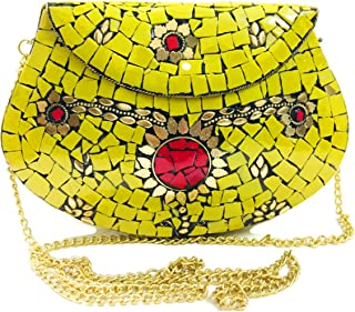 Yellow Women/Girls Bridal clutch party sling bag mosaic metal bag antique ethnic clutch Indian purse party clutch