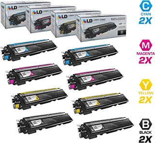 LD © Set of 8 High Yield Toner Cartridges Compatible with Brother TN-210 : 2 of each Black TN210BK, Cyan TN210C, Magenta TN210M, and Yellow TN210Y for use in DCP-9010CN, HL-3040CN, HL-3045CN, HL-3070CW, HL-3075CW, MFC-9010CN, MFC-9120CN, MFC-9125CN, MFC-9320CN, MFC-9320CW, MFC-9325CW Printers