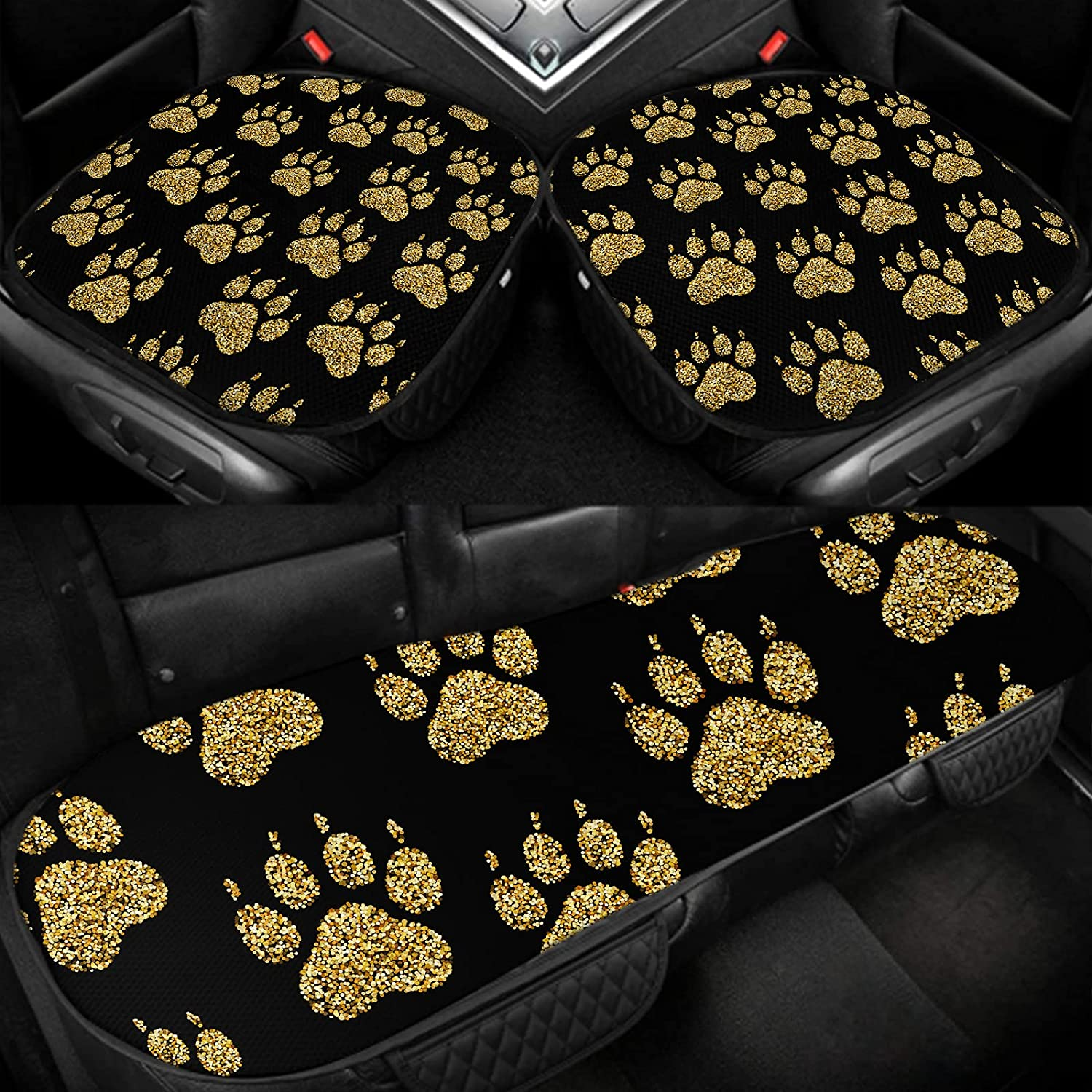 SSOIU Dog Paw Car Seat Our shop OFFers the best service Covers Ice Si Golden Prints Black paw Some reservation