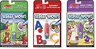 Melissa & Doug On the Go Water Wow! Activity Pad 3-Pack, Animal, Alphabet, Bible Stories (Reusable Water-Reveal Coloring Books, Great Gift for Girls and Boys - Best for 3, 4, 5, 6, and 7 Year Olds)