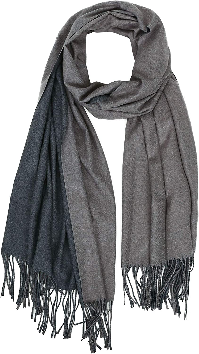 Jaweaver Two Tone Cashmere Scarf For Women Men, Large Warm Pashmina Shawl Wrap Fall Winter Stole Scarves w Gift Box