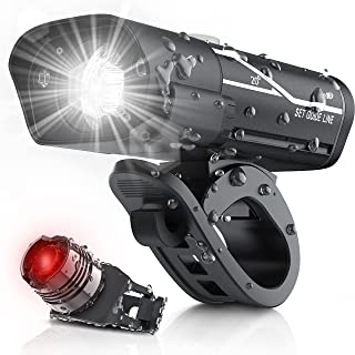 [Updated 2021 Version] USB Rechargeable Super Bike Headlight and Back Light Set, Runtime 10+...