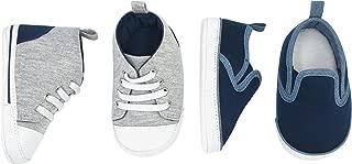 Baby Boys' 2 Pack Crib Shoe Set: Soft Sole High Top Sneaker & Slip On Sneaker