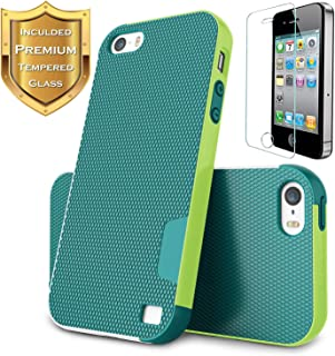 Hizansa iPhone SE Case [with Screen Protector],iPhone 5s Case,iPhone 5/5s/SE Case Screen Protector,Shock-Absorbing Ultra Slim 3 Color Hybrid Bumper Soft Gel Phone Case Cover (Green