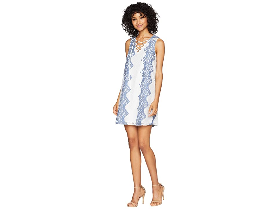 BCBGMAXAZRIA Lace Dress with Lace-Up Ties (White Combo) Women