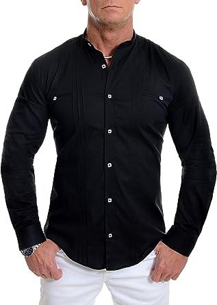 D&R Fashion los Hombres la Camisa Elegante con Cuello en Banda Slim Fit algodón Blanco Negro