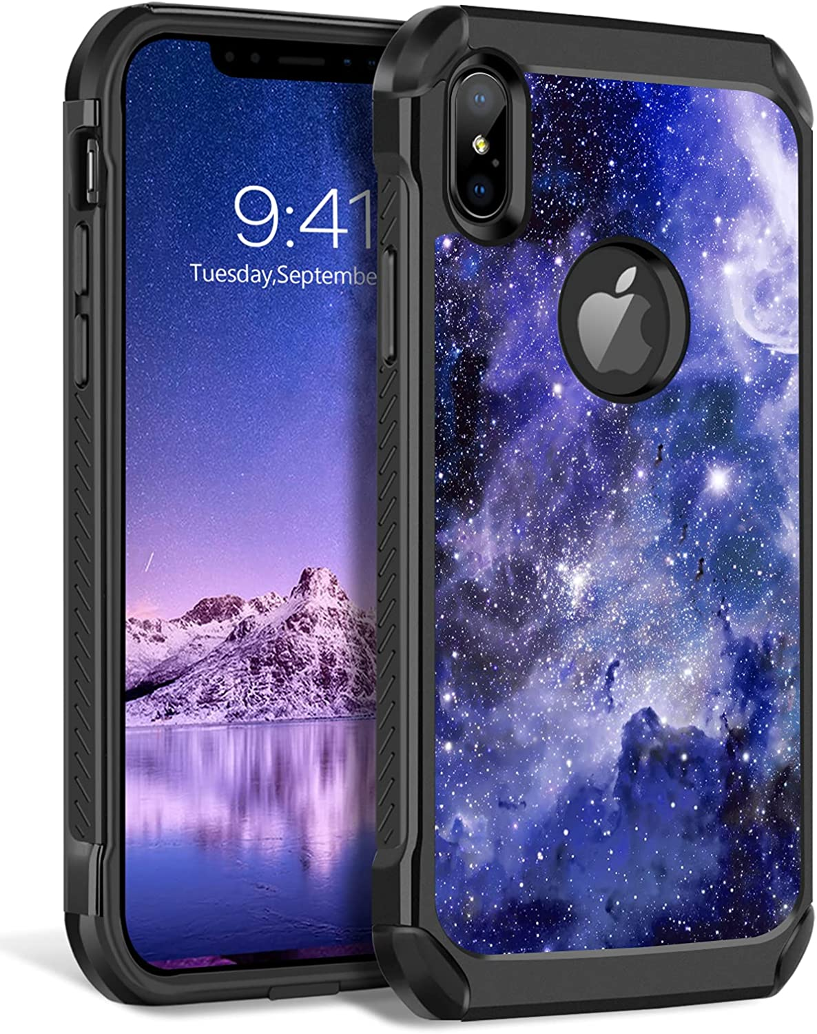 BENTOBEN iPhone Xs Max Case, Shockproof Glow in The Dark Slim 2 in 1 Hybrid Hard PC Soft Bumper Nebula Space Design Anti-Scratch Protective Phone Cases Cover for iPhone Xs Max 6.5