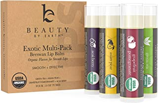Organic Lip Balm Flavor Pack - 4 Tubes of Natural Lip Balm, Lip Moisturizer, Lip Treatment for Dry Lips, Lip Care Gifts fo...