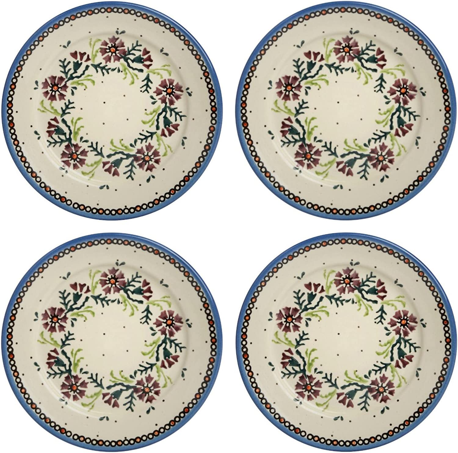 Polish Pottery Watercolor Floral Purple Salad Plates, Set of 4 (8  Diameter)